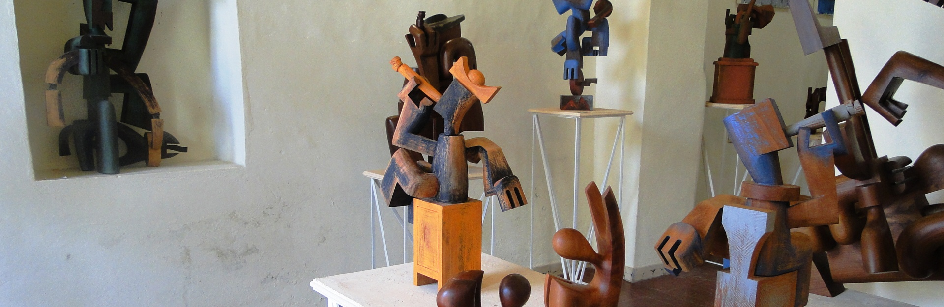 Wood-carved sculptures in Camagüey, Cuba