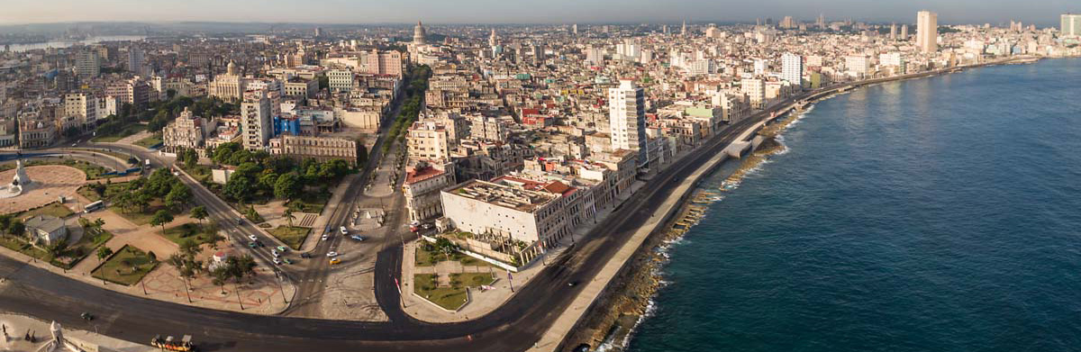 Panoramic view of the Havana malecon, Cuba Travel