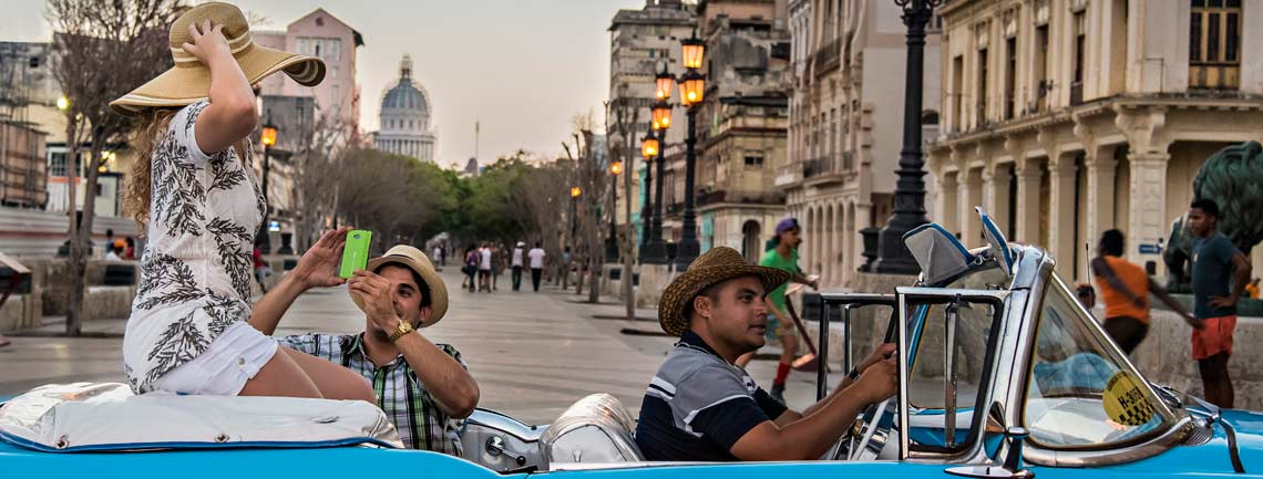Classic car ride, Havana, Cuba Travel